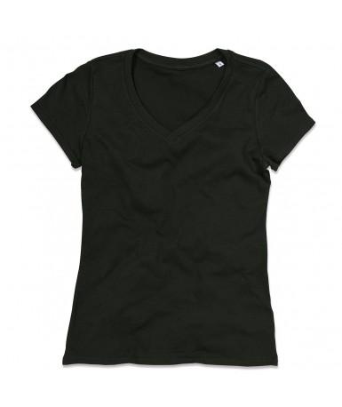 Majica s V-izrezom za žene ST9310BLO (Black Opal)