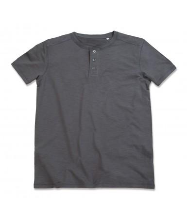 Majica kratkih rukava s okruglim izrezom i gumbima za muškarce ST9430SLG (Slate Grey)