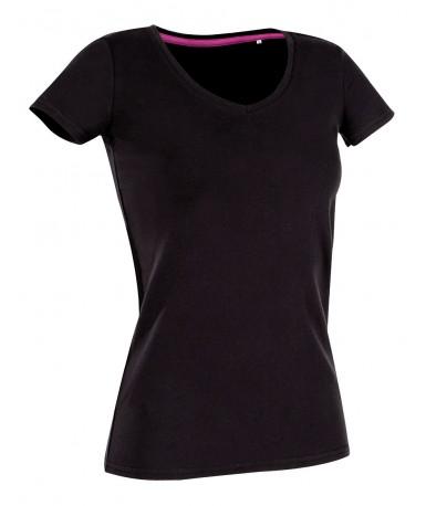 Majica s V-izrezom za žene ST9710BLO (Black Opal)