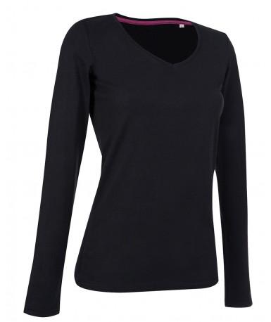 Majica s dugim rukavima za žene V-izrez ST9720BLO (Black Opal)