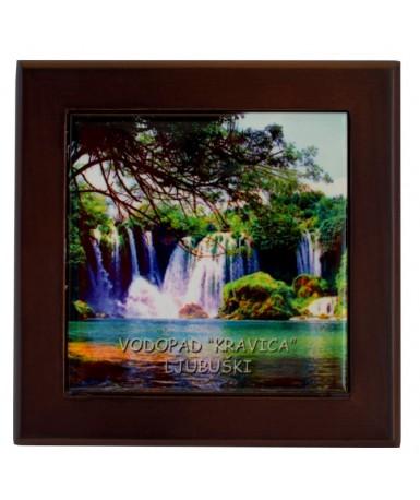 Keramička foto ploča u drvenom okviru 10*10 cm | SM-30